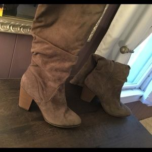 Tan suede 2 1/2 inch high heeled boots from target